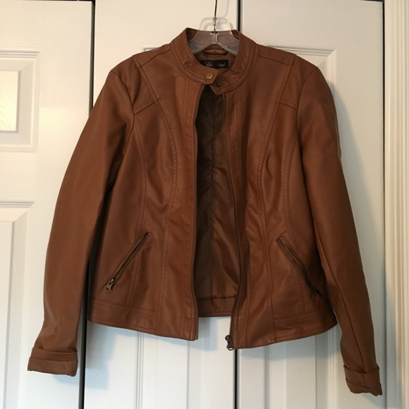 Baccini Jackets & Blazers - Baccini light brown faux leather jacket